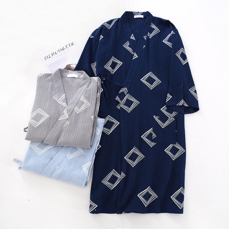 2020 New  Kimono Sleepwear Men Robe Cotton Kimono Man 2161
