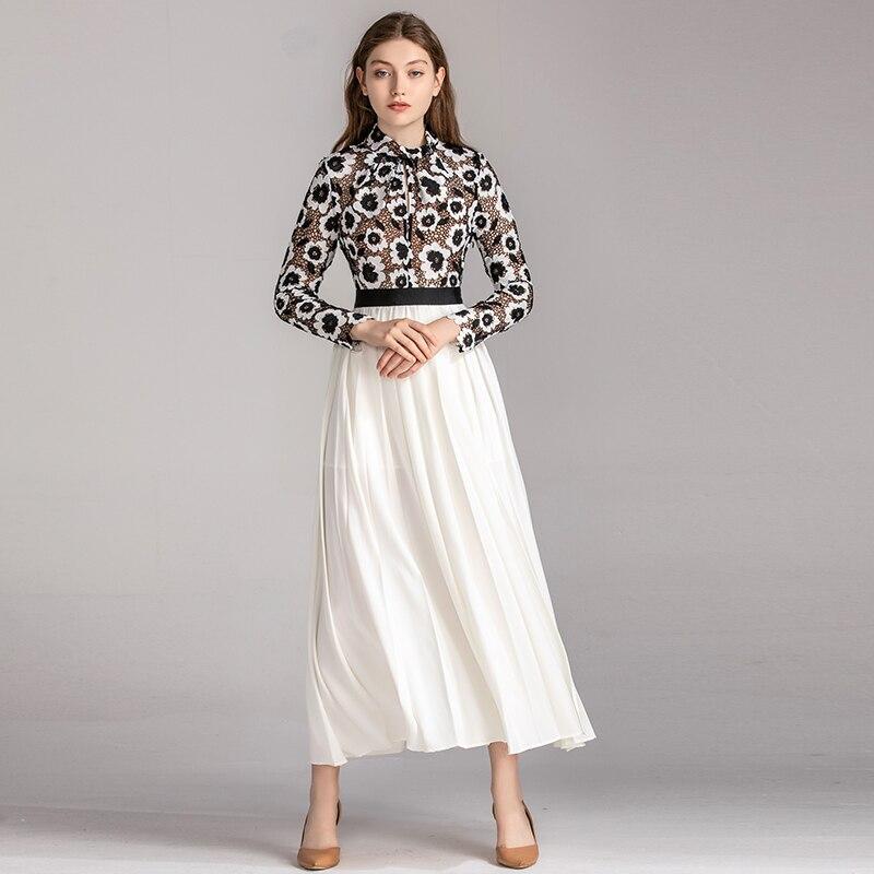 VERDEJULIAY vestido de pasarela de mujer 2019 de lujo de otoño Verano de manga larga de bordado de flores - 2