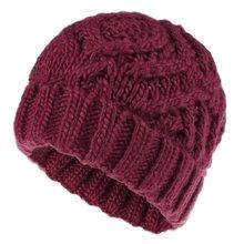Зимняя теплая вязаная шапка унисекс с ромбовидным плетением