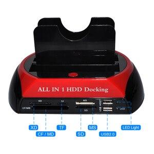 Stacja dokująca do dysków twardych DeepFox USB 2.0 do 2.5 3.5 Cal SATA IDE podwójne gniazda zewnętrzny dysk twardy obudowa SSD z czytnikiem kart