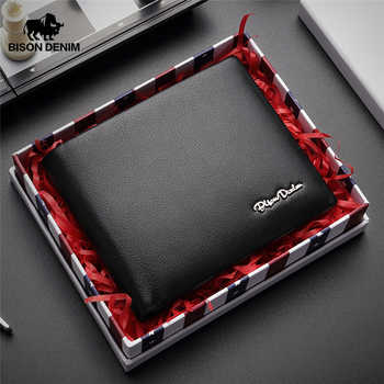 BISON DENIM Genuine Leather RFID Wallet Male Multifunctional Card Holder Wallet with Coin Purse Soft Standard Money Bag W4495 - DISCOUNT ITEM  53% OFF All Category