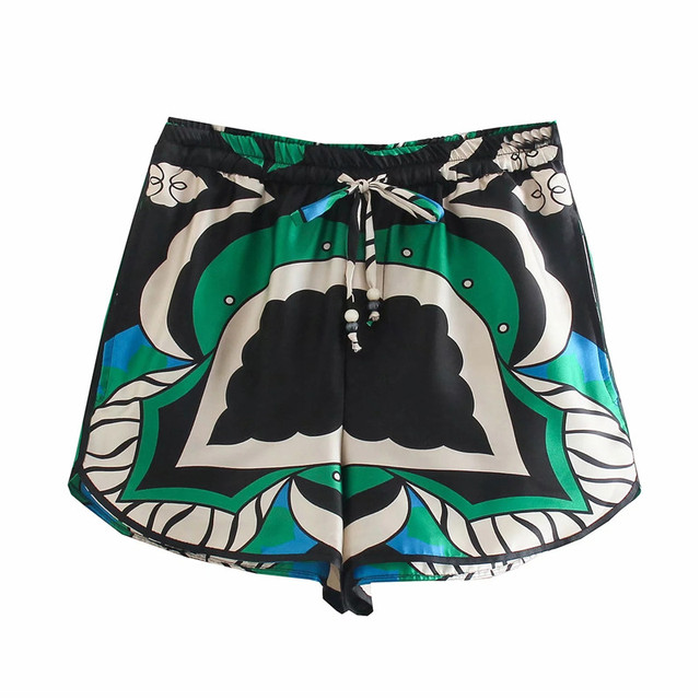 PSEEWE Za 2021 Bermuda Shorts Woman Summer Green Print High Waist Short Pants Women Vintage Loose Casual Streetwear Shorts Sets 2