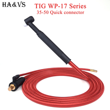 WP17 TIG Welding Torch Gas-Electric Integrated Red Hose Cable Wires 5/8 UNF Quick Connector 4M 35-50 Euro Connector 13.12Ft