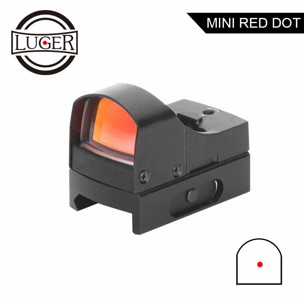 Luger Red Dot Sight Rifle Scope Tactische Mini Compact Holografische Verstelbare Helderheid Micro Reflex Red Dot Hunting Scope