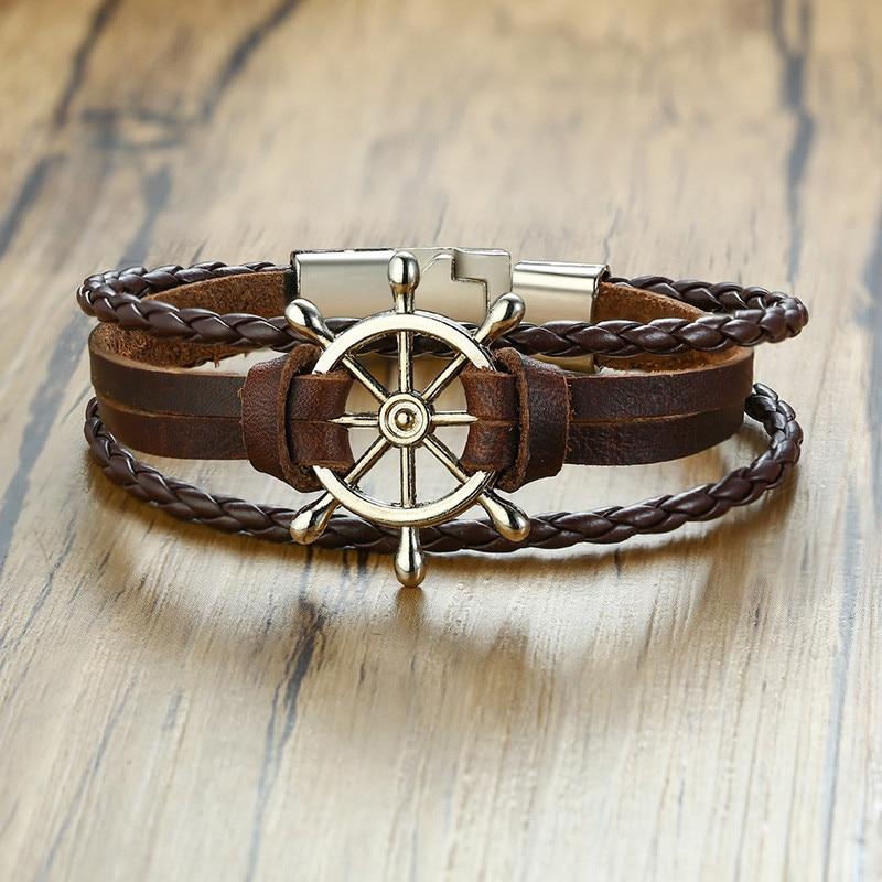 Bracelet en cuir gouvernail  3