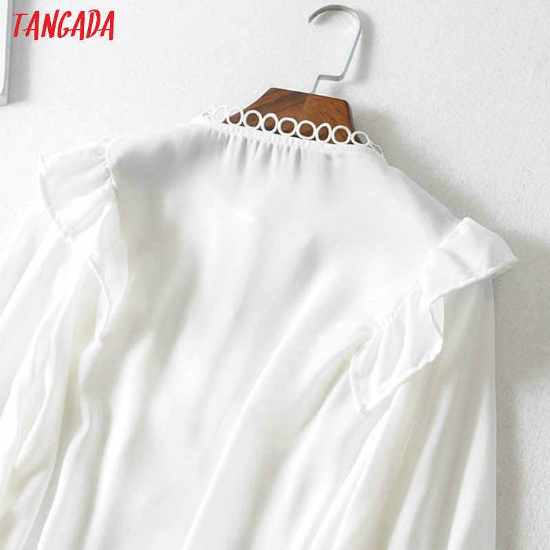Tangada المرأة الكشكشة الأبيض قمصان طويلة الأكمام الصلبة س الرقبة أنيقة مكتب السيدات العمل ارتداء البلوزات FN114