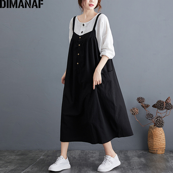 DIMANAF Plus Size Women Dress Sleeveless Big Vintage Female Vestidos Pleated Cotton Casual Loose Pockets Clothing