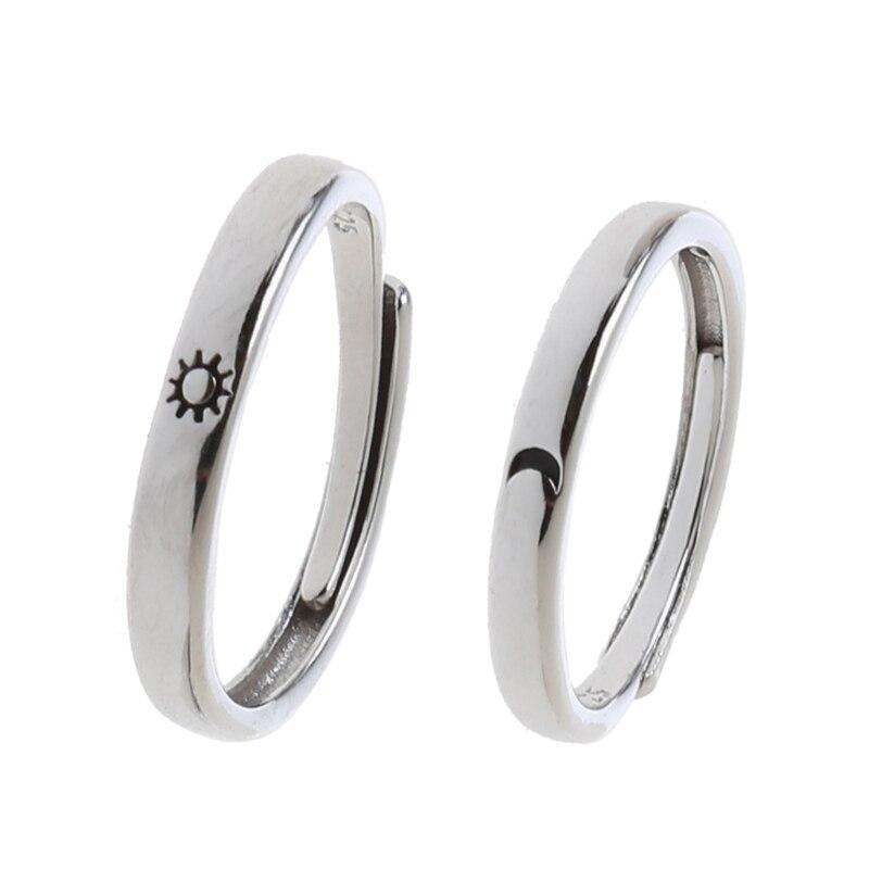 2 pçs sol e lua amante casal anéis definir promessa casamento bandas para ele e ela|Anéis|   -