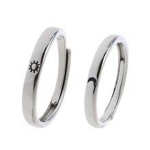 2 pçs sol e lua amante casal anéis definir promessa casamento bandas para ele e ela