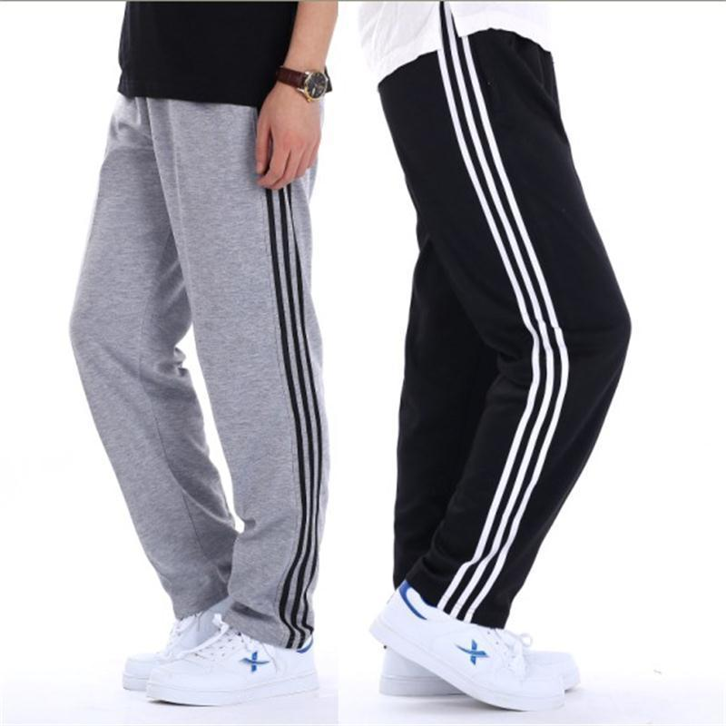 Spring And Autumn Summer Elastic Waist Men's Athletic Pants Casual Trousers Fat Plus-sized Knitted New Style Sweatpants Fitness