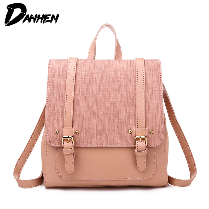 New Women Backpack PU Leather Shoulder Bags for Female Causal Daypacks for School Girl in Backpacks from Luggage Bags