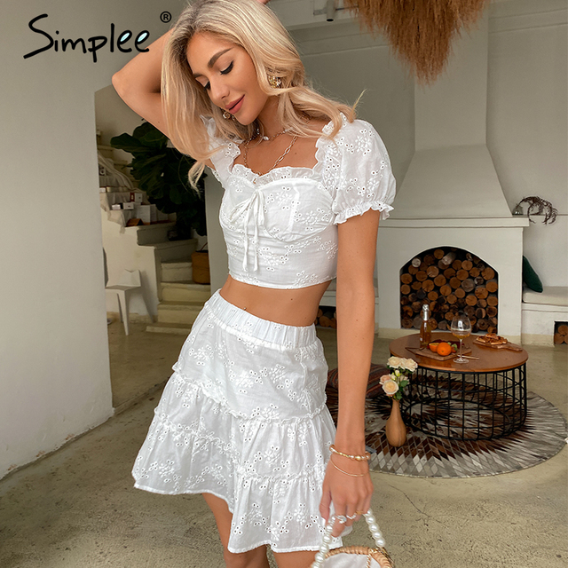 Simplee Roman holiday style two pieces ruffled women set summer Romantic puff sleeve top and embroidery skirt Bow sash slim suit 6
