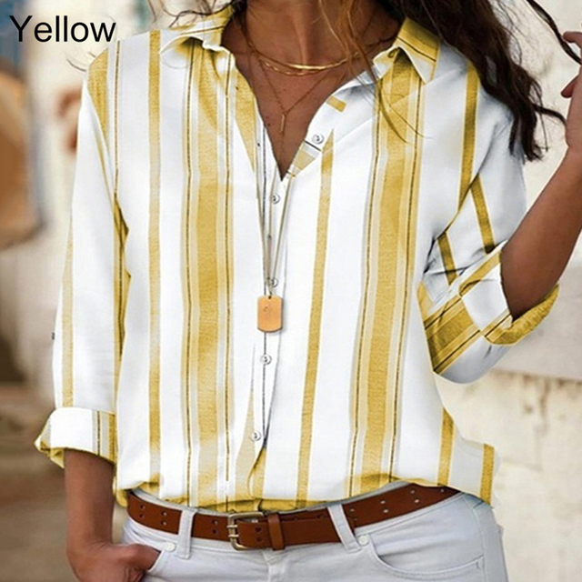 Spring Women Striped Blouse Shirt Chiffon Long Sleeve Turn Collar Female Top Chothes Casual Plus Size 5XL Loose Girls Blouses 3