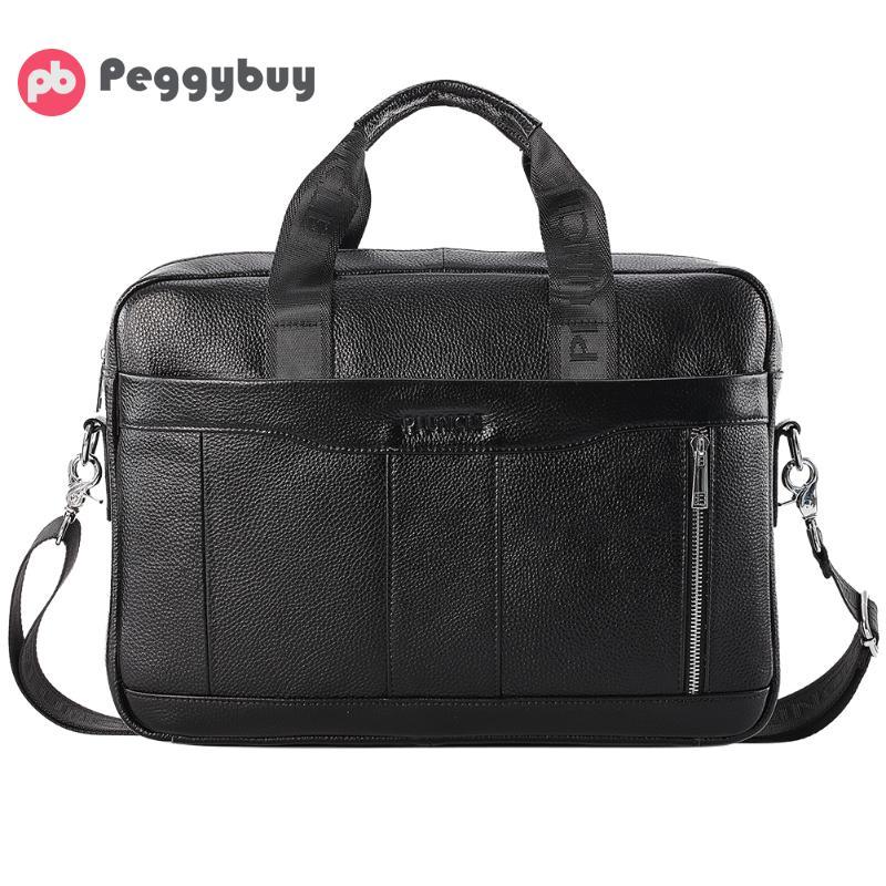 Multi-function Men's Genuine Leather Briefcase Male Man Laptop Bag Natural Leather For Men Messenger Bags Men's Briefcases 2019