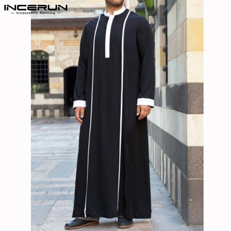 Мусульманская одежда INCERUN для мужчин, кафтан в арабском стиле, лоскутные халаты с длинным рукавом, абайя, мода, Саудовская Аравия, Дубай