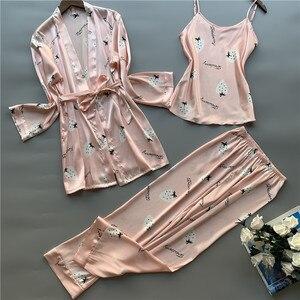 Image 5 - 3 Pcs ผู้หญิงผ้าไหมน้ำแข็งชุดนอน Polka ผลไม้หวานเสื้อกั๊กกางเกงชุดชุดนอน