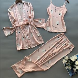 Image 5 - 3 peças de seda gelo pijamas femininos polka fruta doce colete calças cardigan conjunto pijamas