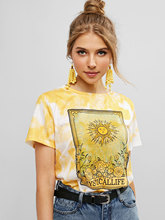 ZAFUL Tie Dye Printing T-Shirts Women Short Sleeve T Shirt Casual Female Tops Summer O Neck Tee Shirt Sun Floral Graphic Tee цены