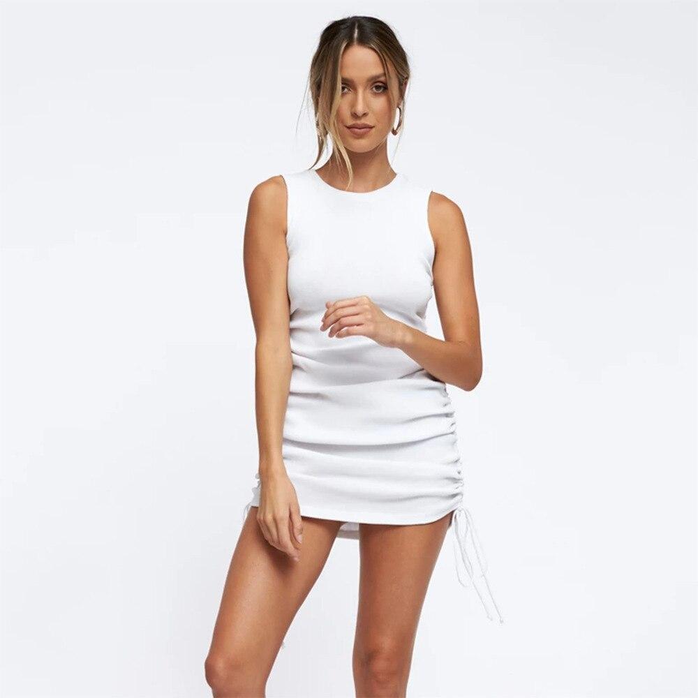 Cotton Ruched Drawstring Sexy Party Dress Women Sleeveless Elastic Mini Dress Vintage Summer Bodycon Club Wear Vestidos 12