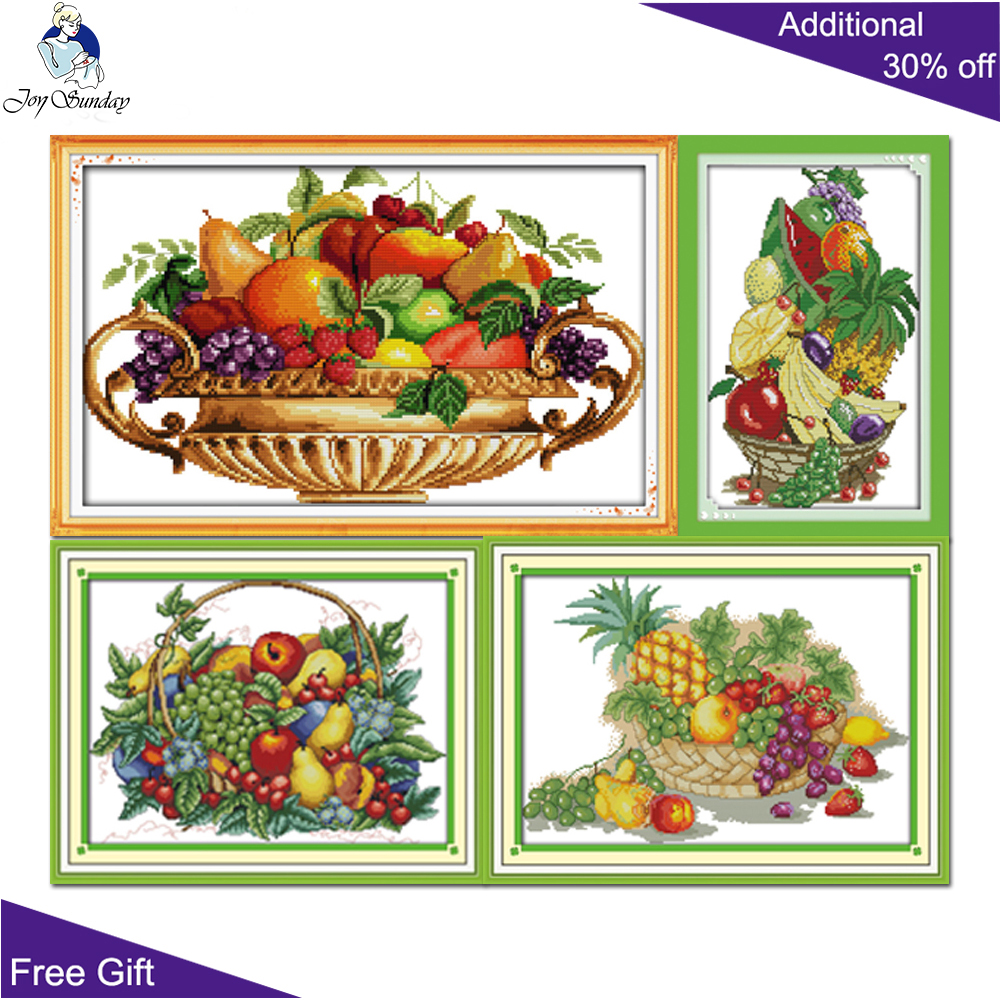 Joy Sunday Fruit Basket Cross Stitch J126(5) J130(6) J144(2) J188 Stamped and Counted Fruit Basket Dinner Room Home Decor|  - title=