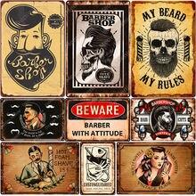 Barber Shop Poster Hair Cut Vintage Metal Tin Signs Bar Pub Home Decor My Beard My Rules Wall Plates Foam Shave Metal Sign N366