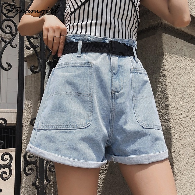 Summer High Waisted Shorts For Women With Belt Loose Short Jeans Women Denim Shorts With Pockets Jeans Short Woman Casual 6