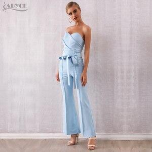 Image 5 - Женский клубный комбинезон с брюками ADYCE, голубой облегающий комбинезон с бантом без бретелей в стиле звезд, для подиума, для лета, 2020