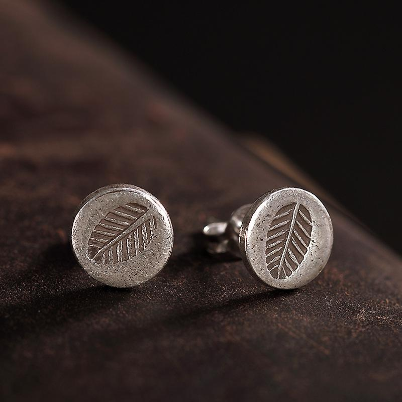 Fyla Mode S925 Sterling Slver 보석 Retro 수 제 Thai Silver Earrings 숙 녀 잎 Earrings 폭 8.30 미리 메터 0.86 그램