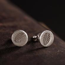 Fyla Mode S925 Sterling Slver Jewelry Retro Handmade Thai Silver Earrings Ladies Carved Leaves Width 8.30mm 0.86g
