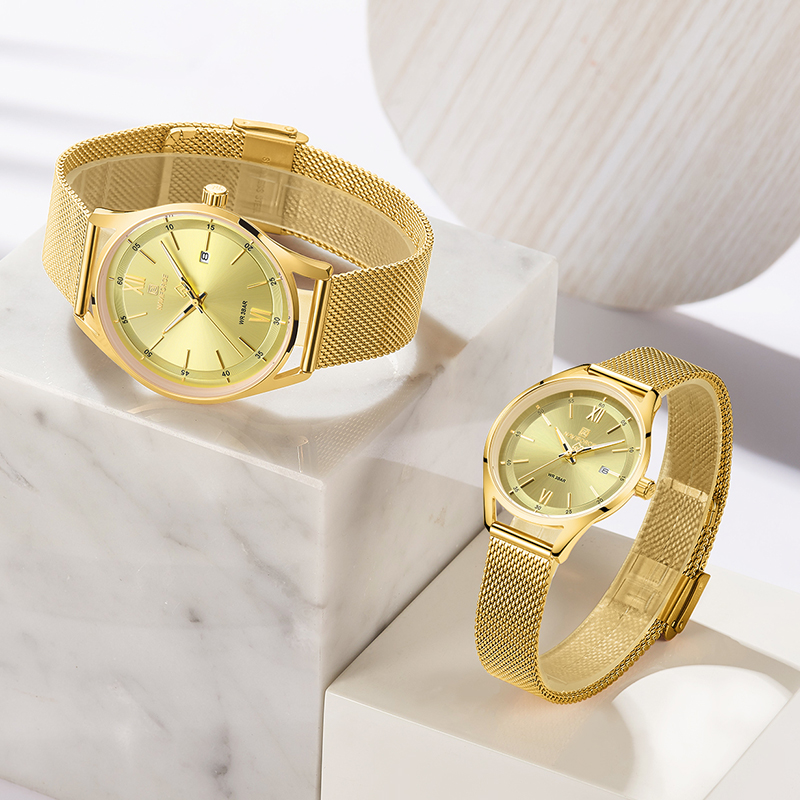 NAVIFORCE Lover's Gold Watches Women Men Fashion Simple Quartz Wristwatches Waterproof Auto Date Clock Couple Watch Gift 2020