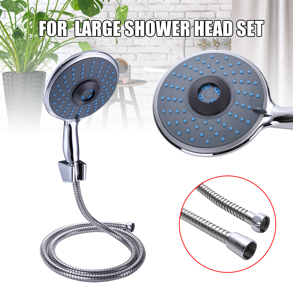 Multifunction Shower Head Set 5 Mode Chrome Handheld Large Shower Head Stainless Steel Shower Hose Holder Bathroom Accessories