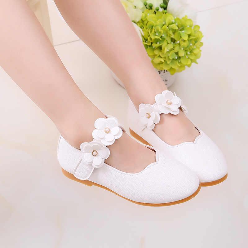 לבן ורוד ילדים פעוט תינוק אפונה נעלי פרח ילדי בנות מסיבת חתונת שמלת נסיכת עור נעליים לילדים נעלי ריקוד