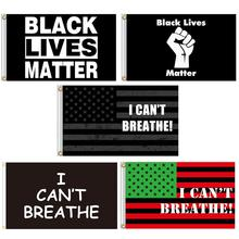 Decorative Flags Polyester I Can'T Breathe Durable USA Flag Banner 3' X 5' Ft Black Lives Matter Garlands Exercise Background недорого
