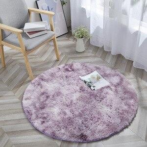 Image 2 - Tie Dye Ronde Tapijt Fotografie Props Home Decoratieve Fauteuil Mat Anti Slip Tapijt Grijs Kleurverloop Pluche Woonkamer tapijten