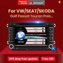Junsun 7 2 din مشغل أسطوانات للسيارة راديو لاعب لتحديد المواقع والملاحة لشركة فولكس فاجن جولف/6/جولف/5/باسات/b7/cc/b6/سيات/سكودا بلوتوث FM مشغل إستريو