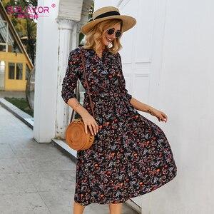 Image 5 - S. טעם נשים מזדמנים שמלת נשים V צוואר 3/4 שרוול קו אמצע עגל הדפסת שמלת נקבה אלגנטי מותניים סתיו midi שמלה