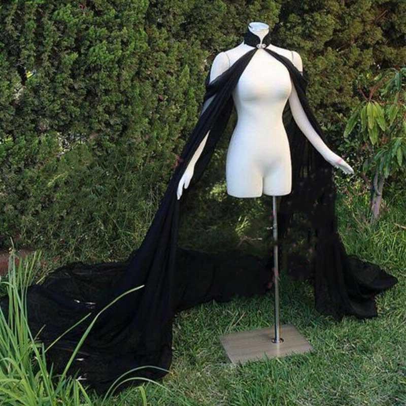 Black Chiffon Elegant Women Bride Bolero Cape For Evening Dress Coat Wedding Accessories Bride Cloak Long Shawl Elf Dress Up