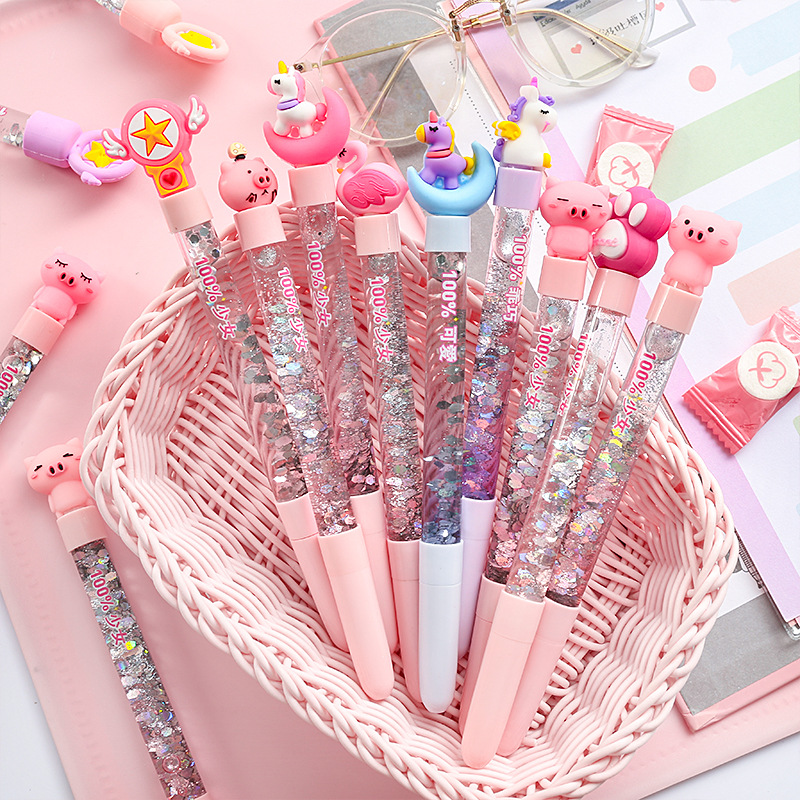 1pc Cute Fairy Pen Creative Quicksand Sequins Unicorn Flamingos Pig Moon Cat Claw Dinosaur Gel Pen Novelty Stationery Supply