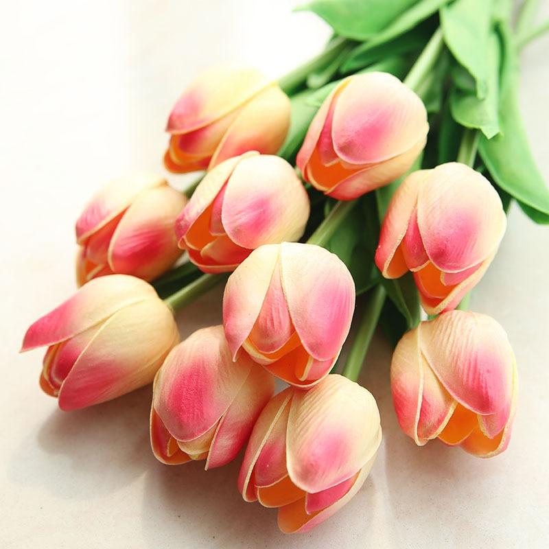 10 unidades de tulipán simulado decoración para fiesta de boda flores falsas colocadas en casa Vintage Tulip forma carillón de viento japonés campana colgante Feng Shui de hierro de jardín de casa ventana Cafe Bar decoración colgante de pared-
