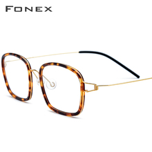 FONEX Titanium Alloy Optical Glasses Frame Men Acetate Myopia Denmark Ultralight Prescription Eyeglasses Women Screwless Eyewear