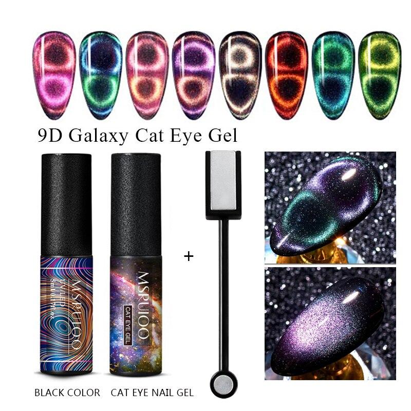 MSRUIOO 9D Гель-лак для ногтей с эффектом «кошачий глаз», набор Хамелеон для использования с магнитом, отмачиваемый УФ-Гель-лак для ногтей, 7D Полу...