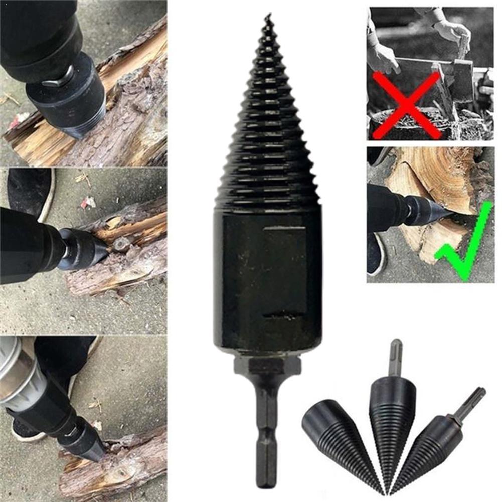 Hex Shank Firewood Splitter Machine Drill Wood Cone Drill Split Punch Bit Tools Drilling Driver Reamer P3I1