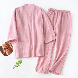 Image 5 - New Japanese Pajamas Set Women Full Cotton Kimono Tops&Pants Suit Couples Sleepwear Set Women Men Casual Homewear
