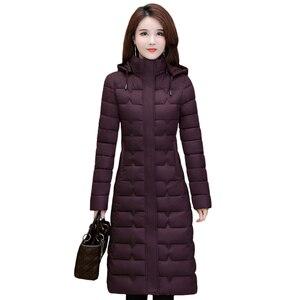 Image 1 - Зимние пальто, женская верхняя одежда 2020, Длинные парки, большие размеры 4XL, теплая толстая пуховая куртка с капюшоном, модная облегающая однотонная зимняя одежда для женщин