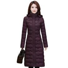 Abrigos de invierno para mujer, prendas de vestir, Parkas largas de talla grande 4XL, chaqueta gruesa cálida con capucha, moda ajustada, ropa de invierno Lisa para mujer 2020