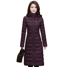 Winter Jassen Vrouw Uitloper 2020 Lange Parka Plus Size 4XL Warme Dikke Donsjack Hooded Mode Slanke Effen Winter Kleding vrouwen