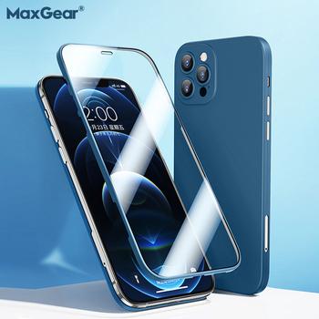 Ultra cienki 360 etui z pełnym pokryciem dla iPhone 12 Pro Max 12 Mini etui z Coque dla iPhone 11 Pro X XR XS Max 11 Pro szkło hartowane tanie i dobre opinie MaxGear APPLE CN (pochodzenie) Częściowo przysłonięte etui 360 Full Cover Tempered Glass Case Zwykły 360 All Coverage Phone Cover