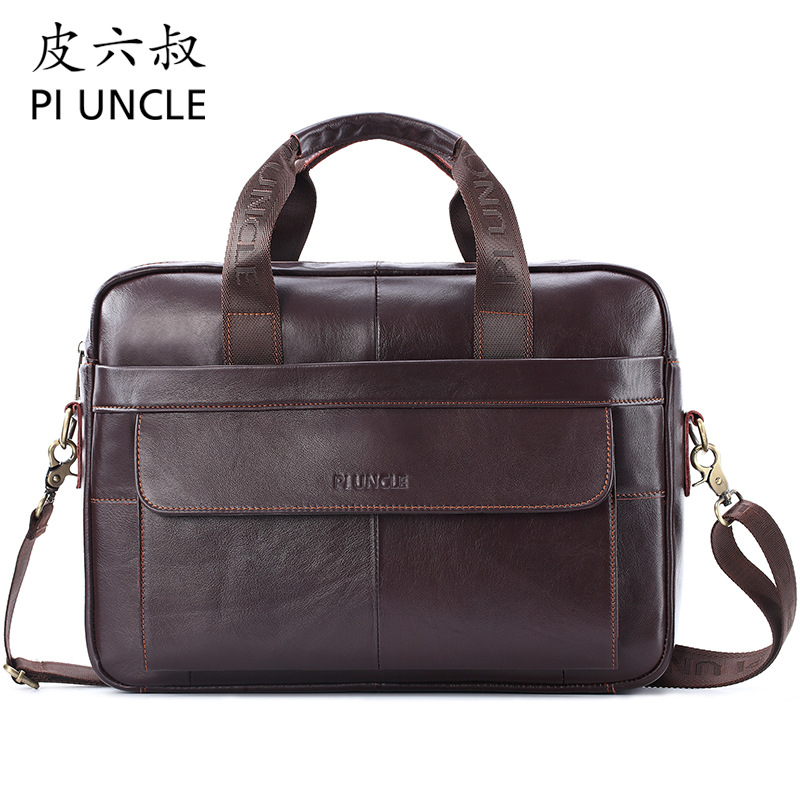 Brand New Genuine Leather Men Briefcase Designer Business Big Handbag Messenger Bags Computer Bag 14inch Laptop Shoulder Bag