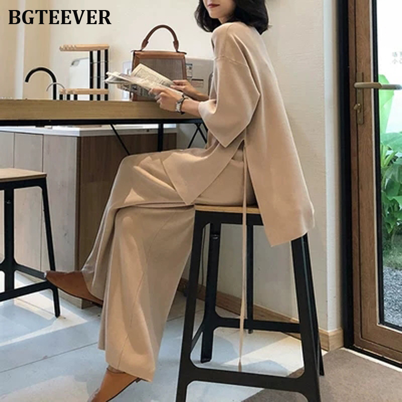 Casual Loose Sweater Tracksuit Female Mid-sleeve V-neck Pullovers & Loose Pants Two Pieces Women Sweater Set 2019 Autumn Winter