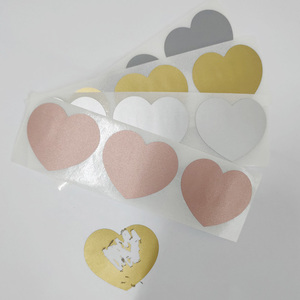 Scratch Off Sticker 50pcs 30x35mm Love Heart Shape 4 Colors For Secret Code Cover Home Game Wedding Message card(China)